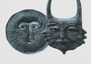 Mascaras en bronce en Xilitla